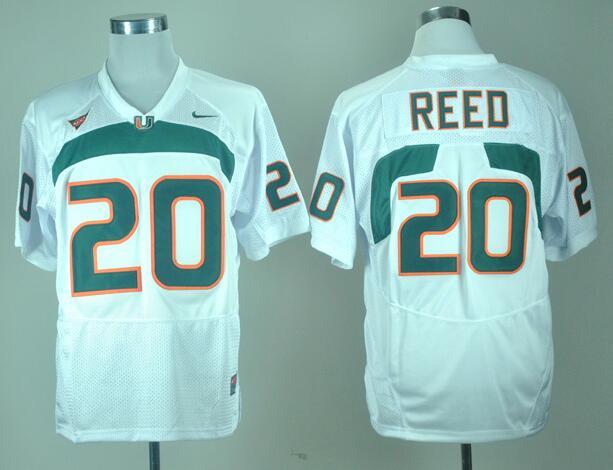 Men's Miami Hurricanes Ed Reed #20 White College Football Nike Jersey