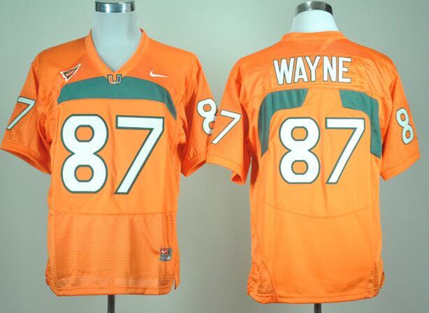 Men's Miami Hurricanes Reggie Wayne #87 Orange College Football Nike Jersey