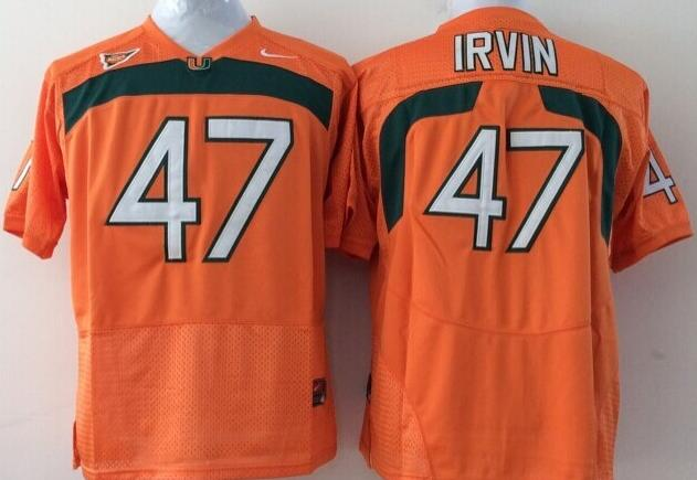 Men's Miami Hurricanes Michael Irvin #47 Orange Nike College Football Stitched NCAA Jersey