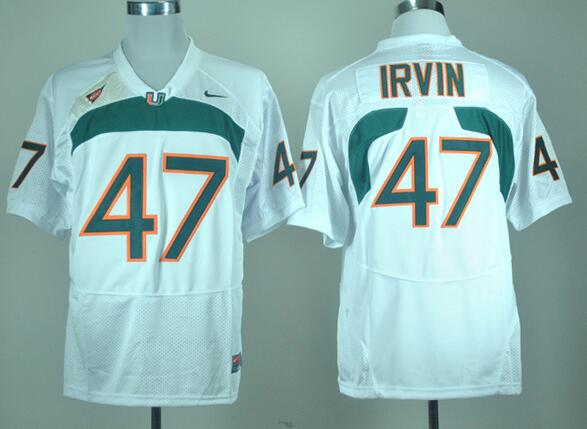 Men's Miami Hurricanes Michael Irvin #47 White Nike College Football Stitched NCAA Jersey
