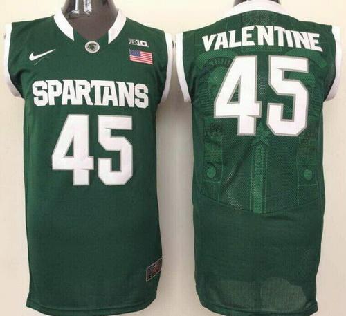 Men's Michigan State Spartans #45 Denzel Valentine Green College Basketball Nike Jersey