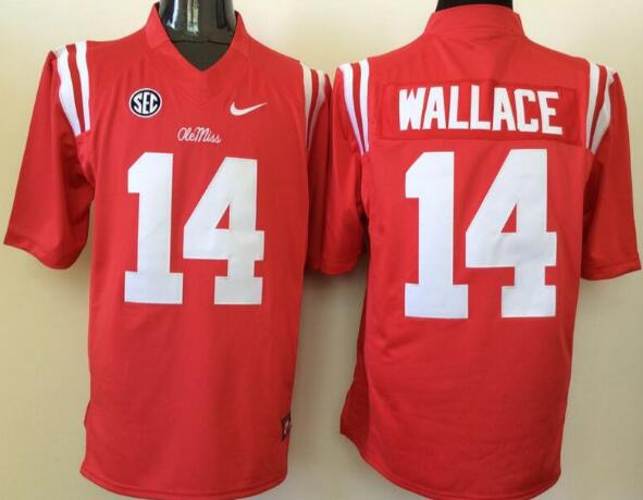 Men's Ole Miss Rebels #14 Bo Wallace Red College Football Nike Jersey