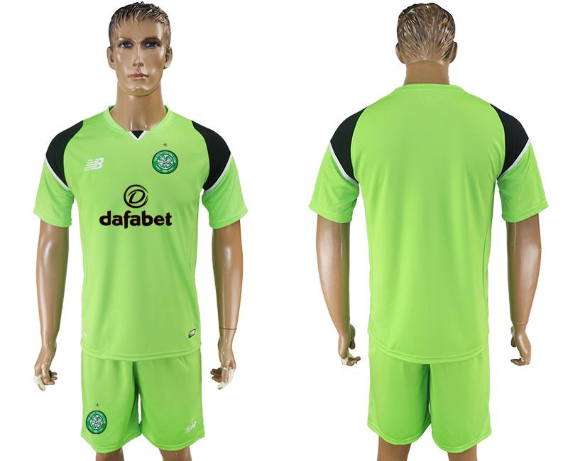 2017-18 Celtic FC Blank or Custom Goalkeeper Home Green Men's Shirt Kit