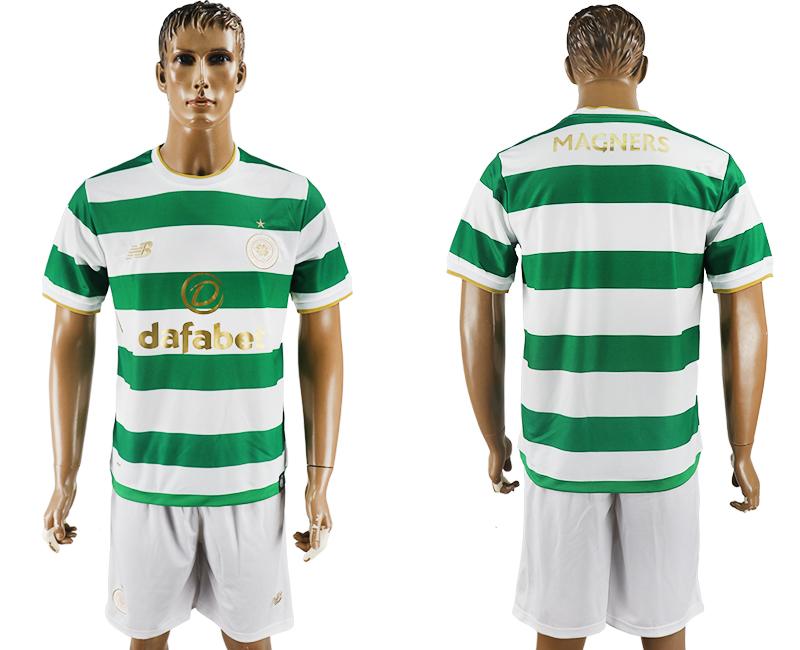 2017-18 Celtic FC Blank or Custom Home Soccer Men's White Shirt Kit