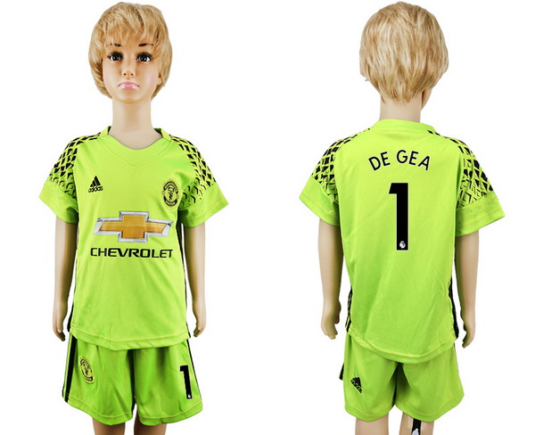 2017-18 Manchester United 1 DE GEAF Goalkeeper Fluorescent Green Youth Shirt Kit