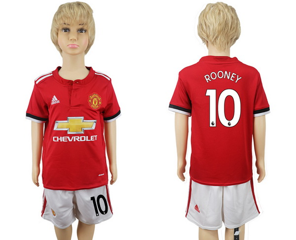 2017-18 Manchester United 10 ROONEY Home Soccer Youth Red Shirt Kit