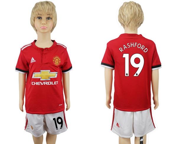 2017-18 Manchester United 19 RASHFORD Home Soccer Youth Red Shirt Kit