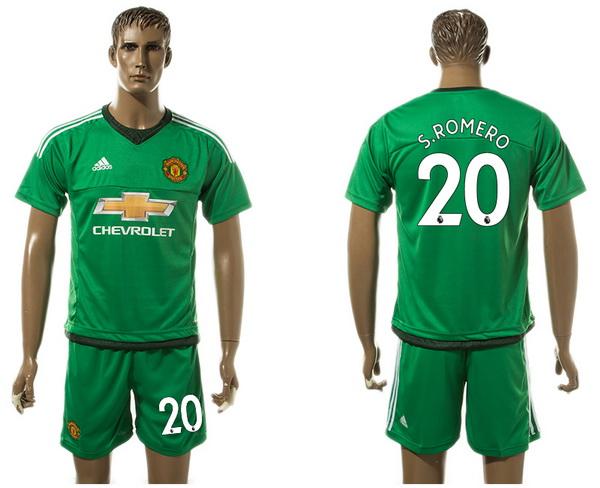 2017-18 Manchester United 20 S.ROMERO Goalkeeper Away Green Men's Shirt Kit