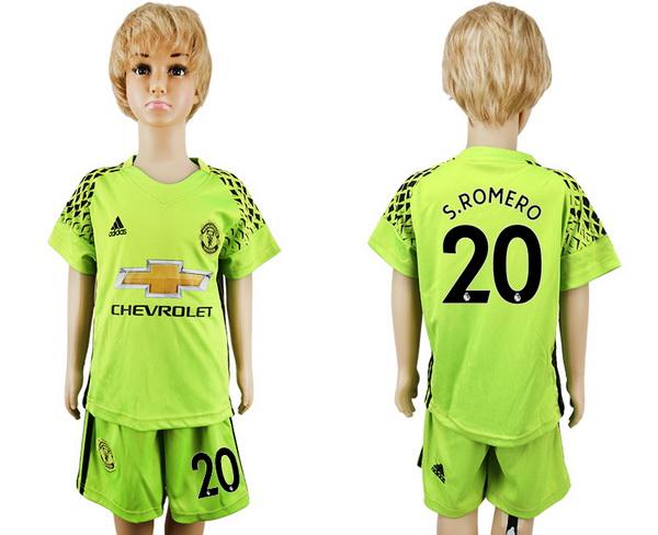 2017-18 Manchester United 20 S.ROMERO Goalkeeper Fluorescent Green Youth Shirt Kit