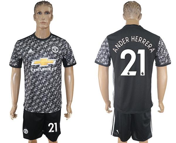 2017-18 Manchester United 21 ANDER HERRERA Away Soccer Men's Black Shirt Kit