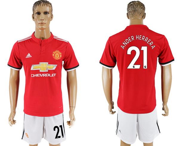 2017-18 Manchester United 21 ANDER HERRERA Home Soccer Men's Red Shirt Kit