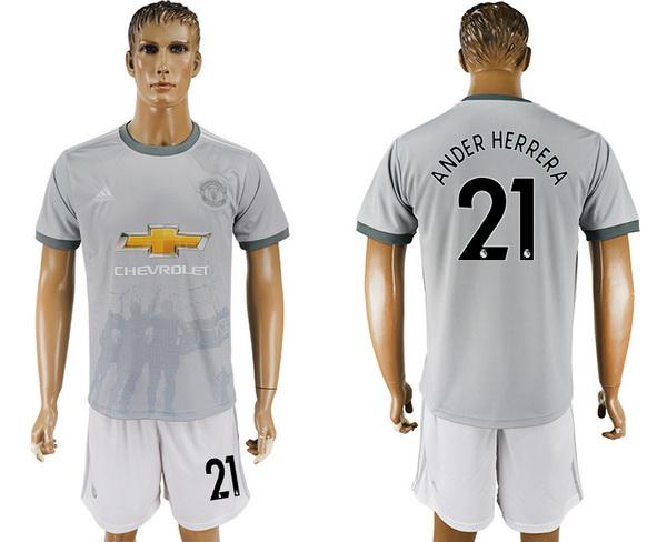 2017-18 Manchester United 21 ANDER HERRERA Third Soccer Men's Gray Shirt Kit