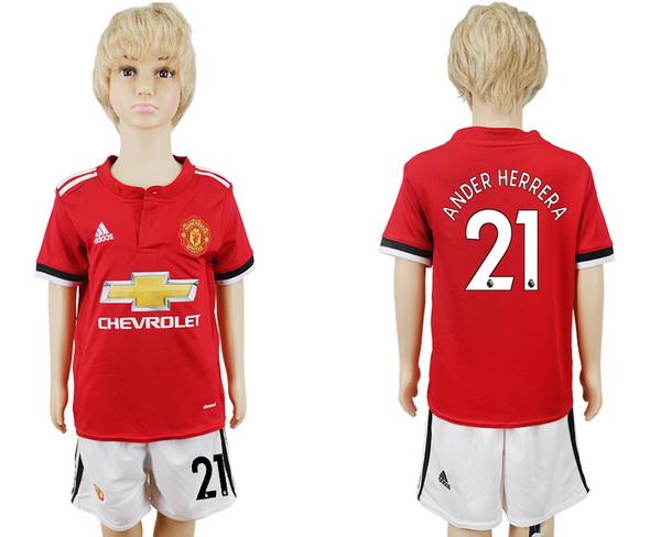 2017-18 Manchester United 21 NDER HERRER Home Soccer Youth Red Shirt Kit