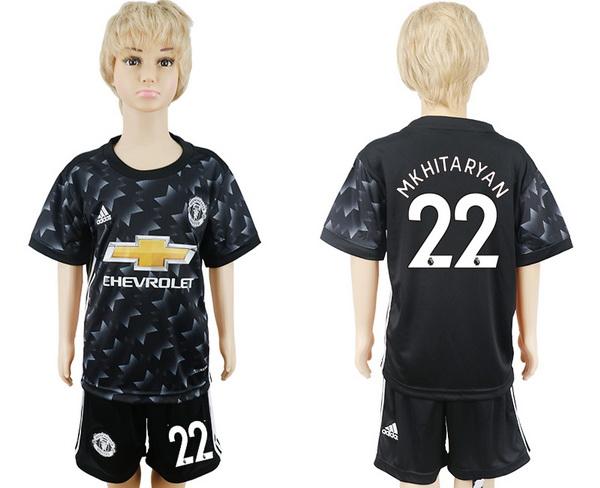 2017-18 Manchester United 22 MKHITARYAN Away Soccer Youth Black Shirt Kit
