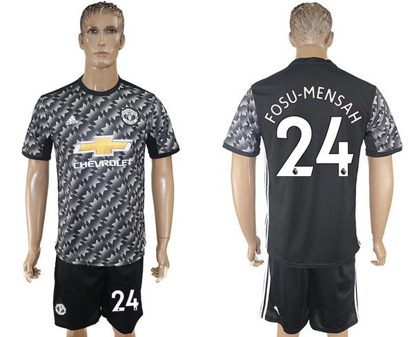 2017-18 Manchester United 24 FOSU MENSAH Away Soccer Men's Black Shirt Kit