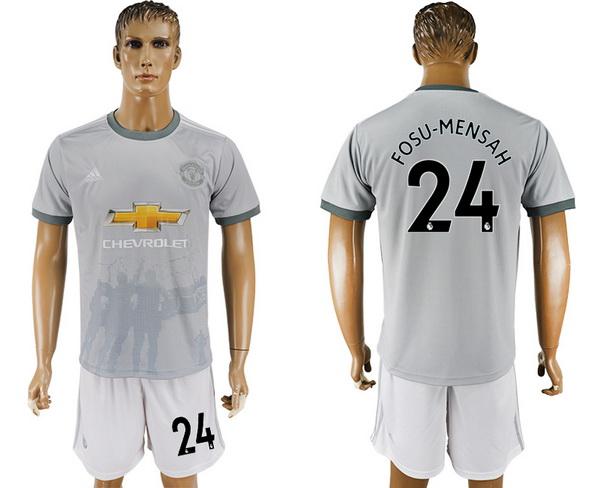 2017-18 Manchester United 24 FOSU MENSAH Third Soccer Men's Gray Shirt Kit