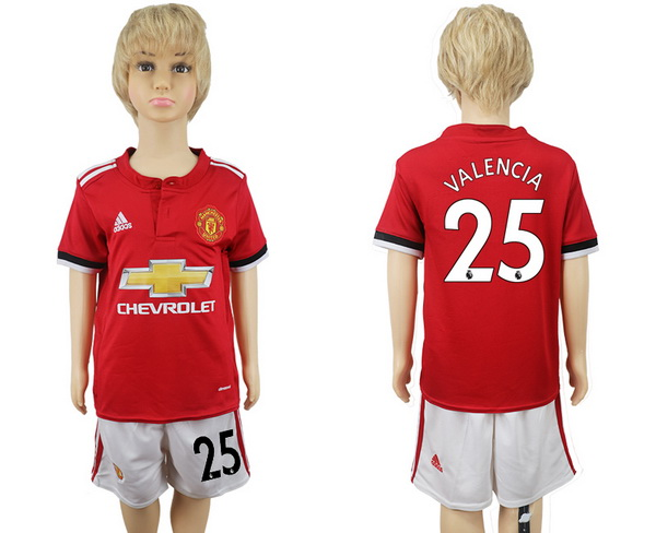 2017-18 Manchester United 25 VALENCIA Home Soccer Youth Red Shirt Kit