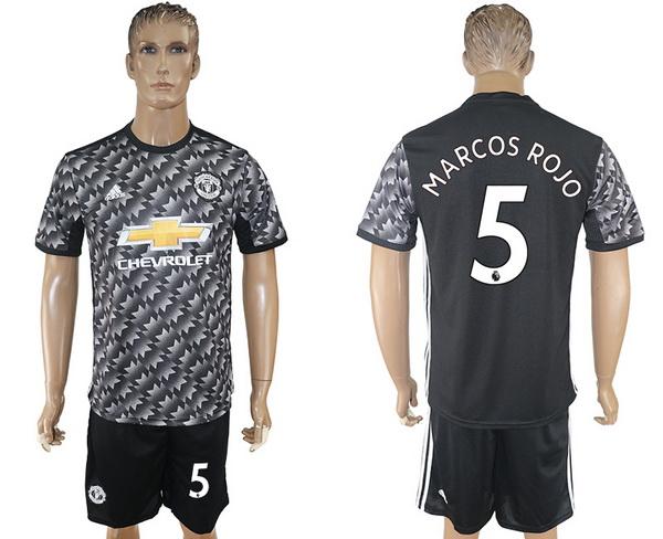 2017-18 Manchester United 5 MARCOS ROJO Away Soccer Men's Black Shirt Kit