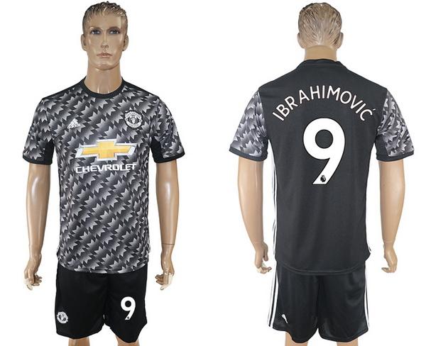 2017-18 Manchester United 9 IBRAHIMOVIC Away Soccer Men's Black Shirt Kit