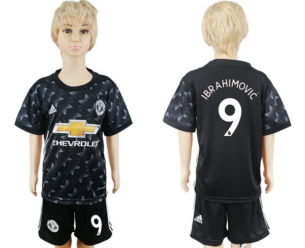 2017-18 Manchester United 9 IBRAHIMOVIC Away Soccer Youth Black Shirt Kit