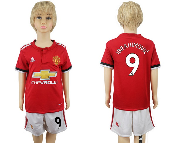 2017-18 Manchester United 9 IBRAHIMOVIC Home Soccer Youth Red Shirt Kit