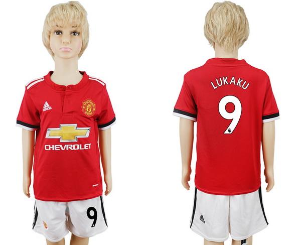 2017-18 Manchester United 9 LUKAKU Home Soccer Youth Red Shirt Kit