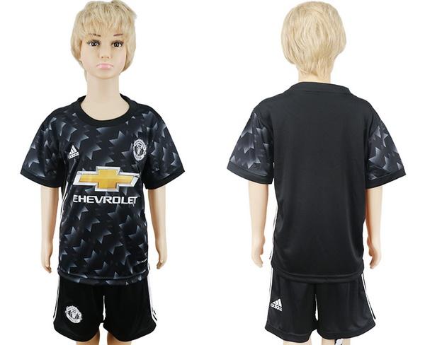 2017-18 Manchester United Blank Away Soccer Youth Black Shirt Kit