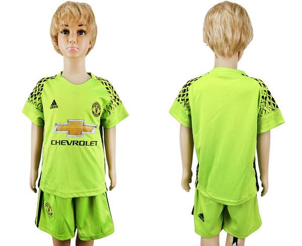 2017-18 Manchester United Blank or Custom Goalkeeper Fluorescent Green Youth Shirt Kit