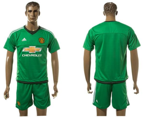 2017-18 Manchester United Blank or Custom Goalkeeper Green Away Black Men's Shirt Kit