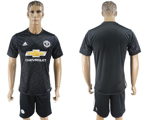 2017-18 Manchester United Blank or Custom Goalkeeper Home Black Men's Shirt Kit