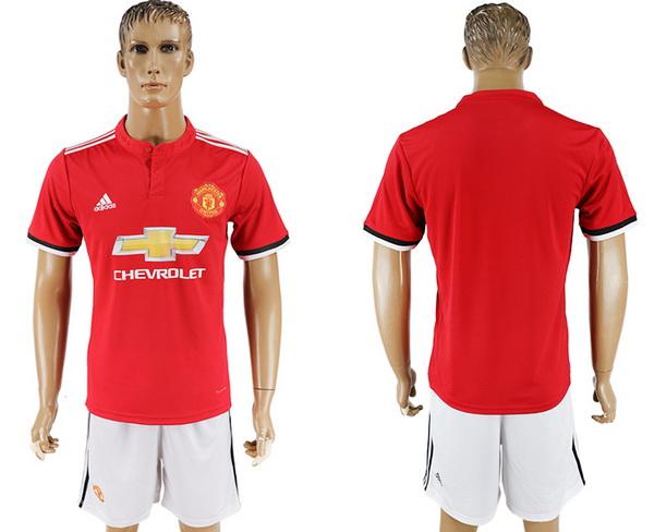2017-18 Manchester United Blank or Custom Home Soccer Men's Red Shirt Kit