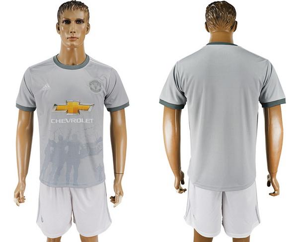2017-18 Manchester United Blank or Custom Third Soccer Men's Gray Shirt Kit