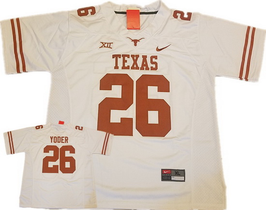 Texas Longhorns #26 Tim Yoder White Limited College Football Stitched Nike NCAA Jersey