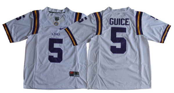 Men's LSU Tigers #5 Derrius Guice White Limited College Football Stitched Nike NCAA Jersey