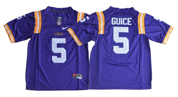 Men's LSU Tigers #5 Derrius Guice Purple Limited College Football Stitched Nike NCAA Jersey