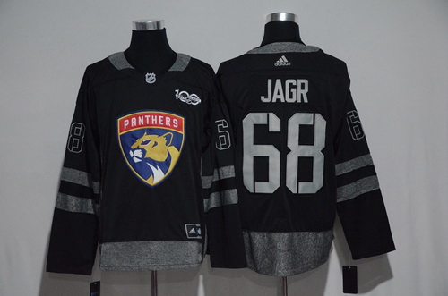 Men's Florida Panthers #68 Jaromir Jagr Black 100th Anniversary Stitched NHL 2017 adidas Hockey Jersey