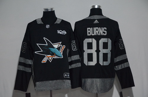 Men's San Jose Sharks #88 Brent Burns Black 100th Anniversary Stitched NHL 2017 adidas Hockey Jersey