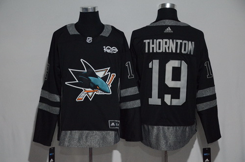 Men's San Jose Sharks #19 Joe Thornton Black 100th Anniversary Stitched NHL 2017 adidas Hockey Jersey