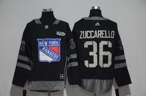 Men's New York Rangers #36 Mats Zuccarello Black 100th Anniversary Stitched NHL 2017 adidas Hockey Jersey