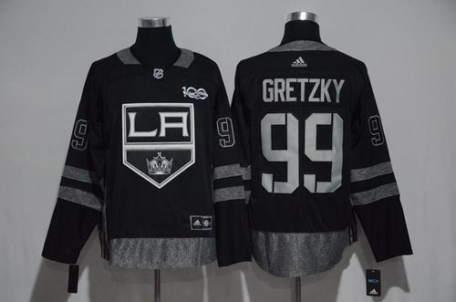 Men's Los Angeles Kings #99 Wayne Gretzky Black 100th Anniversary Stitched NHL 2017 adidas Hockey Jersey