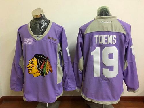 Men's Chicago Blackhawks #19 Jonathan Toews Purple Pink Hockey Fights Cancer Practice Stitched NHL Reebok Hockey Jersey