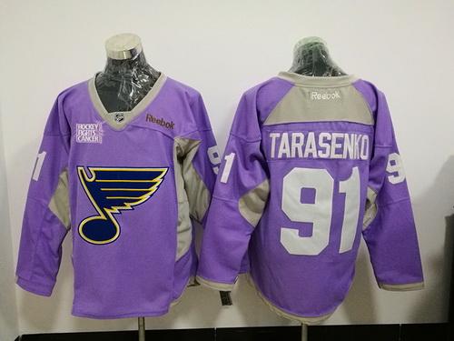 Men's St. Louis Blues #91 Vladimir Tarasenko Purple Pink Hockey Fights Cancer Practice Stitched NHL Reebok Hockey Jersey