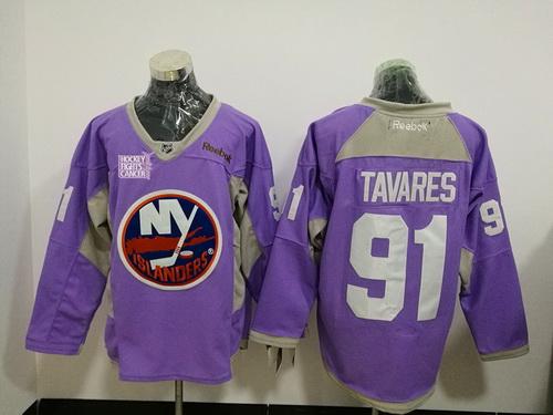 Men's New York Islanders #91 John Tavares Purple Pink Hockey Fights Cancer Practice Stitched NHL Reebok Hockey Jersey