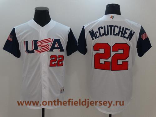 Men's Team USA Baseball Majestic #22 Andrew McCutchen White 2017 World Baseball Classic Stitched Authentic Jersey
