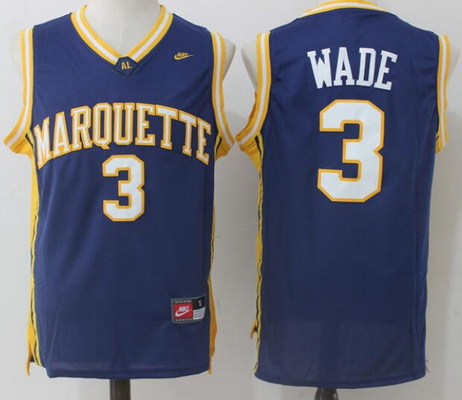 Men's Marquette Golden Eagles #3 Dwyane Wade Navy Blue College Basketball Nike Swingman Stitched NCAA Jersey