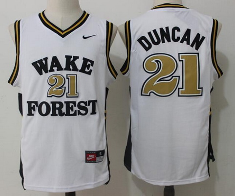 Men's Wake Forest Demon Deacons #21 Tim Duncan White College Basketball Nike Swingman Stitched NCAA Jersey