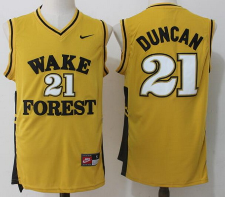 Men's Wake Forest Demon Deacons #21 Tim Duncan Yellow College Basketball Nike Swingman Stitched NCAA Jersey