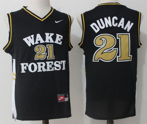 Men's Wake Forest Demon Deacons #21 Tim Duncan Black College Basketball Nike Swingman Stitched NCAA Jersey