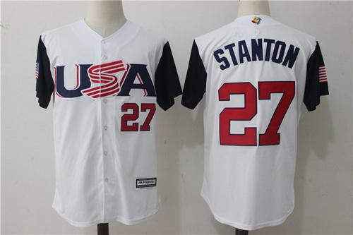 Men's Team USA Baseball Majestic #27 Giancarlo Stanton White 2017 World Baseball Classic Stitched Authentic Jersey
