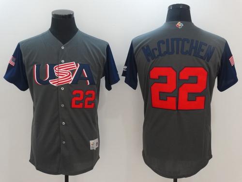 Men's Team USA Baseball Majestic #22 Andrew McCutchen Gray 2017 World Baseball Classic Stitched Authentic Jersey